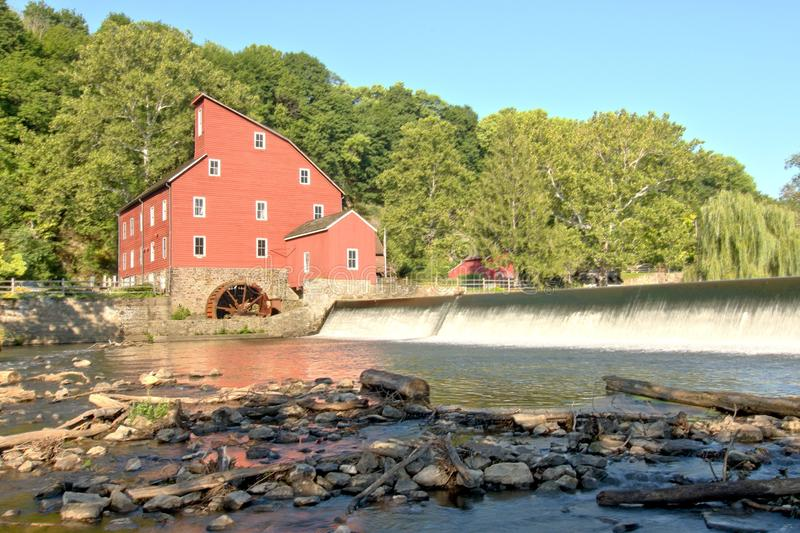 Red Mill, Clinton, New Jersey USA. The historic landmark Red Mill, Clinton, Hunterdon County, New Jersey USA built in 1810 to process wool stock images