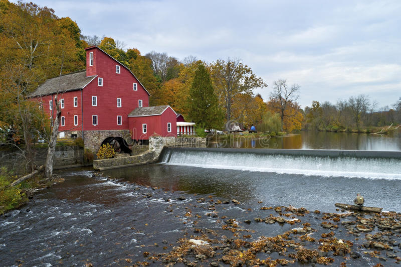 Red Mill View. The historic Red Mill in Clinton Township in New Jersey on an overcast Autumn day royalty free stock photo