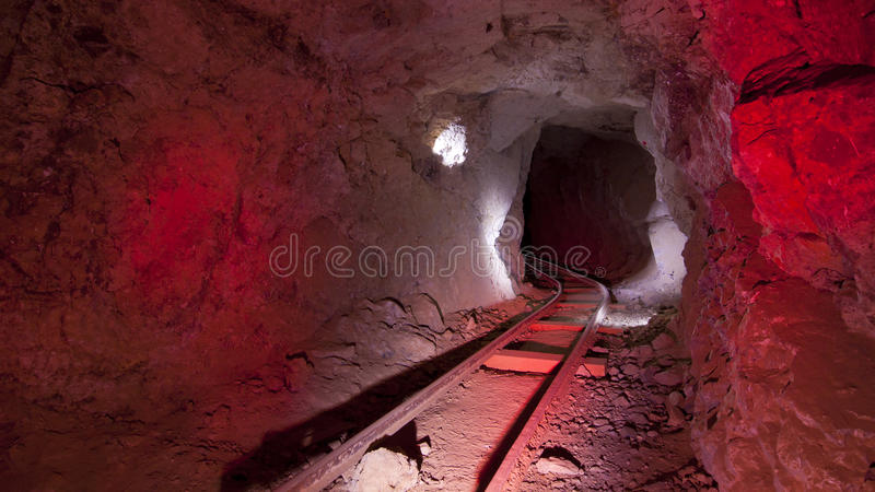 Red Mine Tracks Underground royalty free stock images