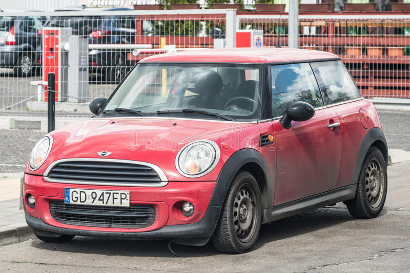 Red Mini Cooper parked stock photo