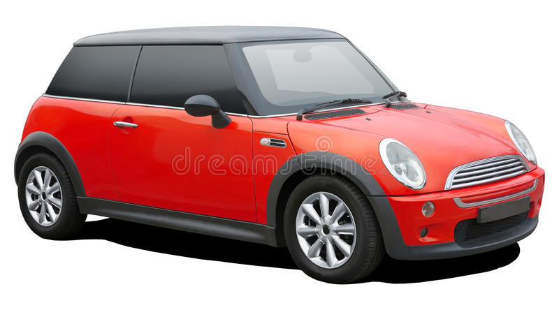 Red mini cooper. Red mini cooper on white background royalty free stock photos