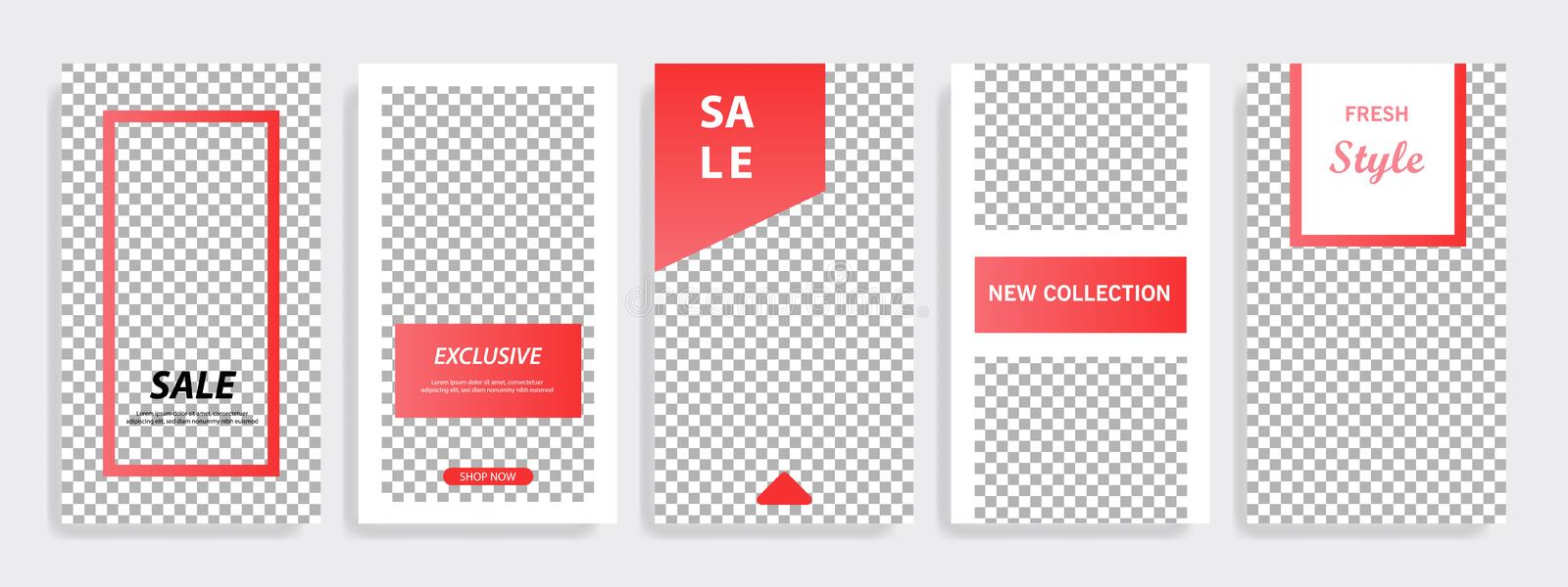 Red minimal geometric Instagram layout banner template. Multipurpose five vertical banner background design template layout. Suitable for Instagram social media royalty free illustration