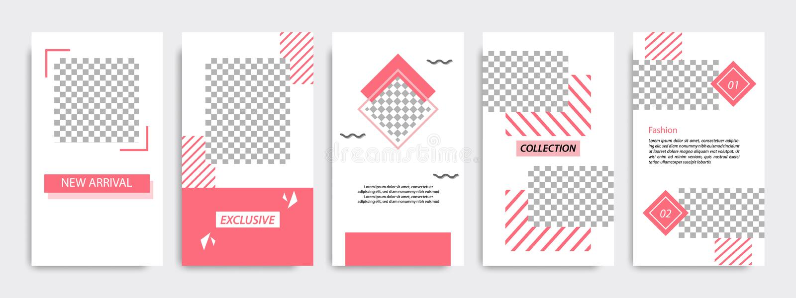 Red minimal geometric Instagram layout banner template. Multipurpose five vertical banner background design template layout. Suitable for Instagram social media stock illustration