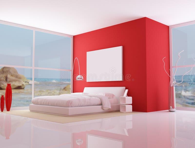 Red minimalist bedroom, stock illustration
