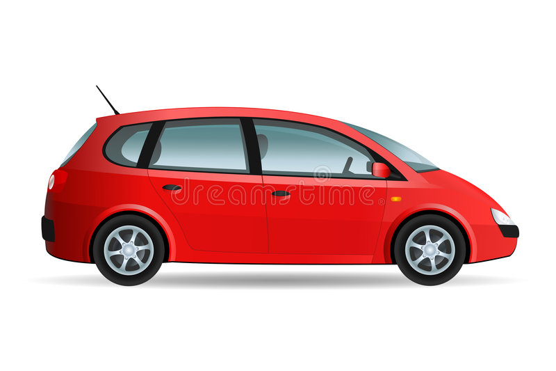 Red Minivan. Vector illustration of a minivan, family car royalty free illustration