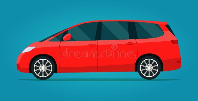 Red minivan isolated. Vector flat style illustration stock illustration