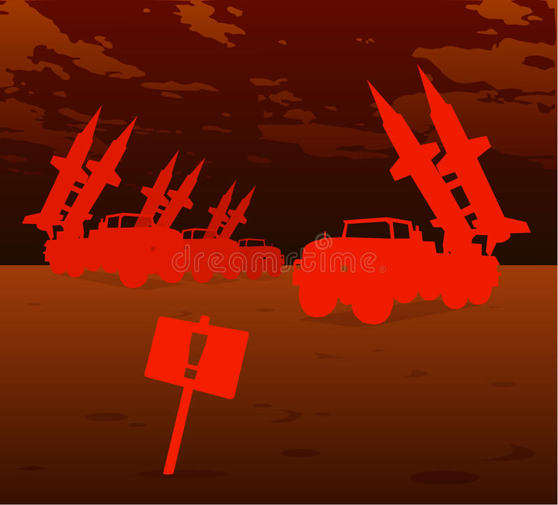 Red missile warfare stock illustration