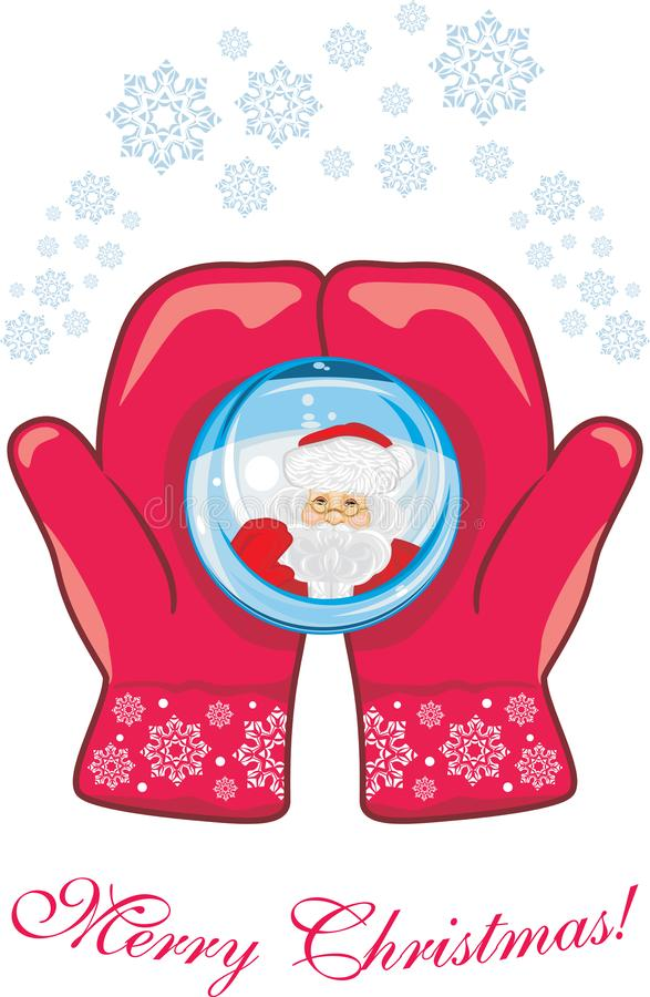 Red mittens with a glass ball. Christmas postcard stock photo