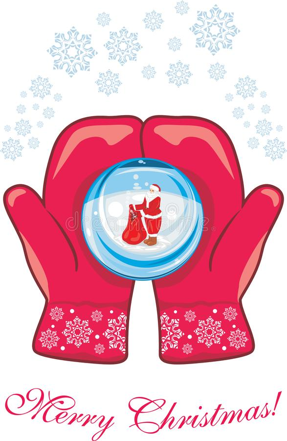 Red mittens with a glass ball royalty free stock photography