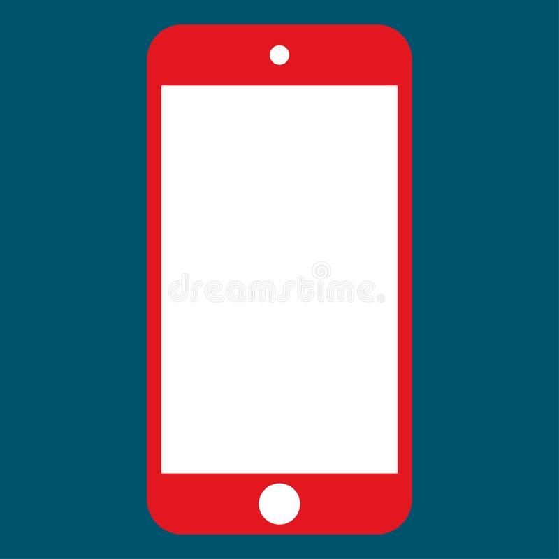 Red mobile phone smartphone with white camera and menu button with white color screen. red mobile phone vector eps10. stock illustration