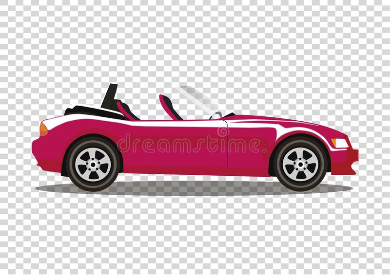 Red modern cartoon colored cabriolet car isolated on transparent stock illustration