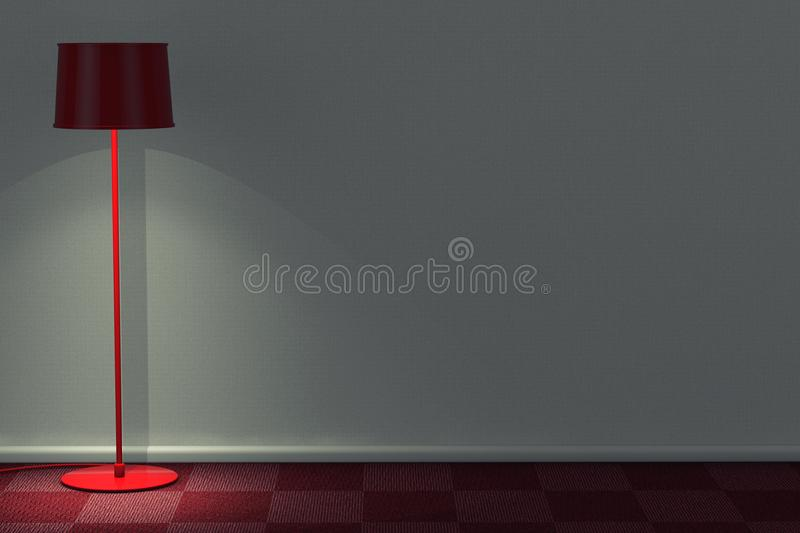 Red Modern Floor Lamp in Room with Red Carpet Floor and White Wa. Ll extreme closeup. 3d Rendering stock illustration