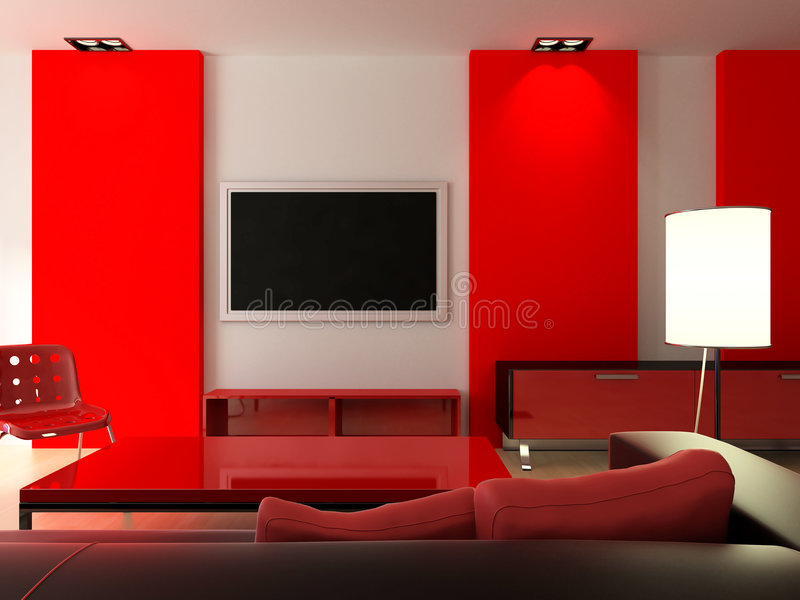 Red modern interior royalty free stock image