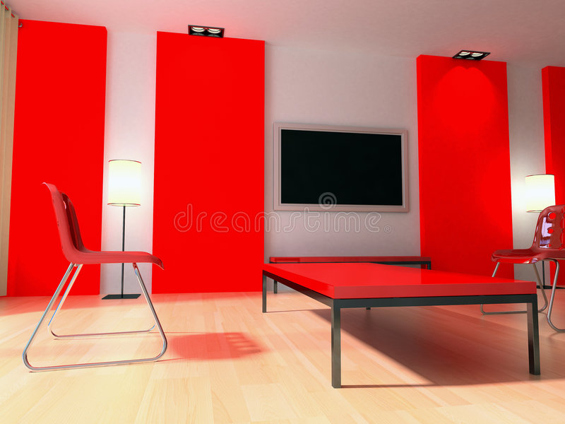 Red modern interior stock photo