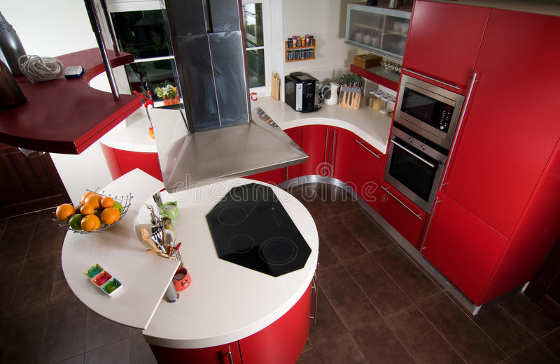Red modern kitchen stock photography