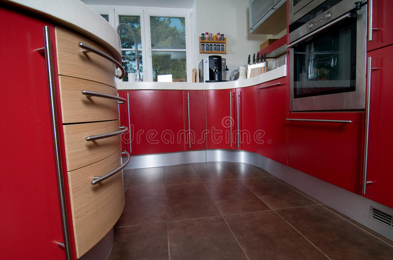 Red modern kitchen royalty free stock image