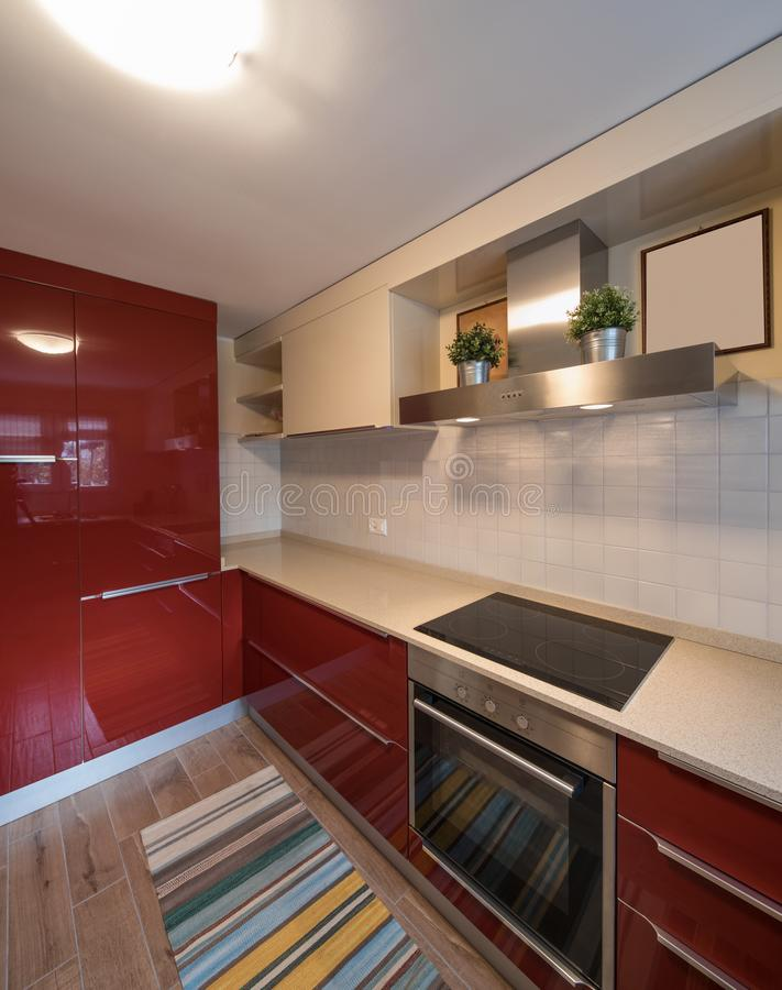 Red modern kitchen with new appliances. Nobody inside royalty free stock photo