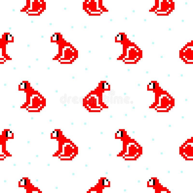 Red monkey cartoon pixel art seamless pattern. royalty free illustration
