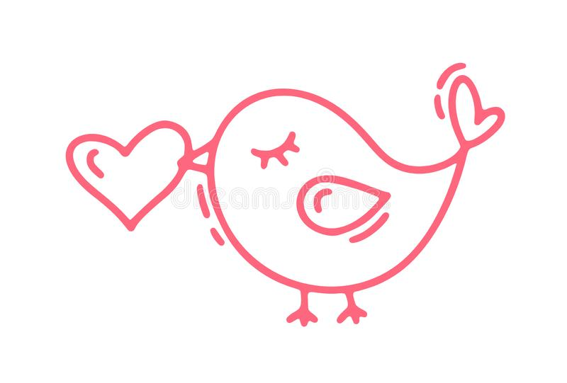 Red Monoline cute bird with heart. Vector Valentines Day Hand Drawn icon. Holiday sketch doodle Design element valentine stock illustration