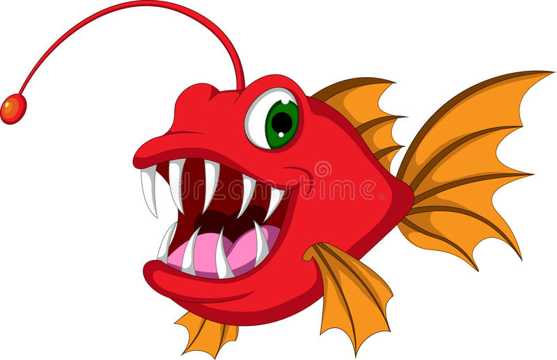 Red monster fish cartoon