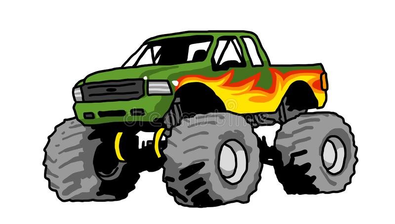 Big monster truck green drawing. Red Monster Truck with Aggressive Set Up freehand drawing big wheels big foot vector illustration