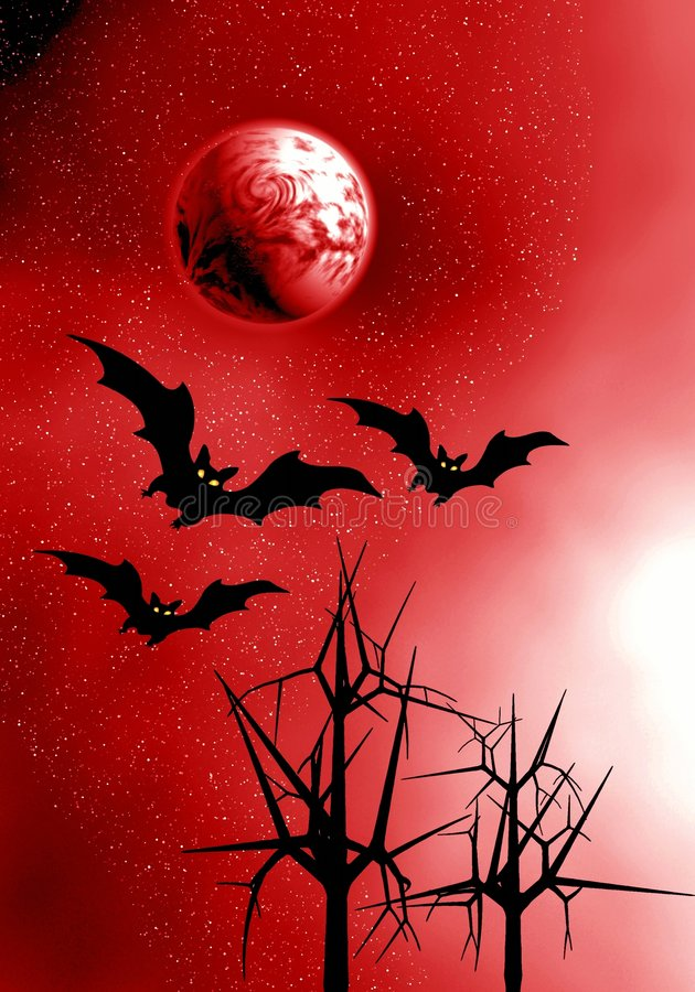 Download Red Moon and bats. stock illustration. Image of harvest - 3239341