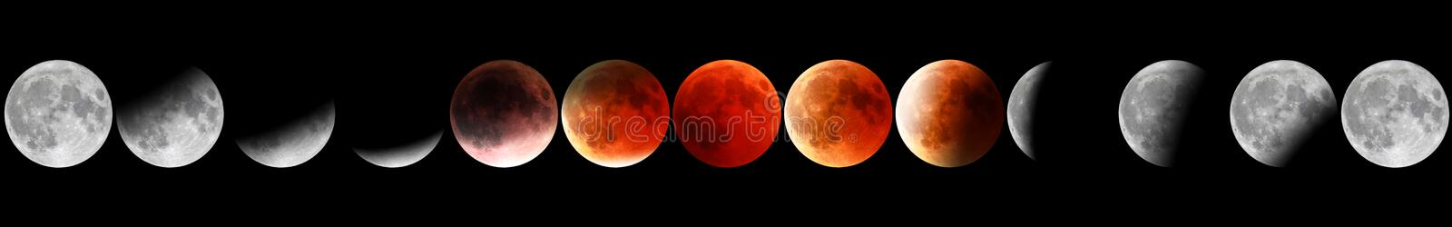 Red moon phases royalty free stock images