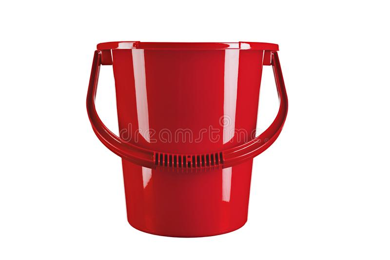 Red mop bucket on white background stock images