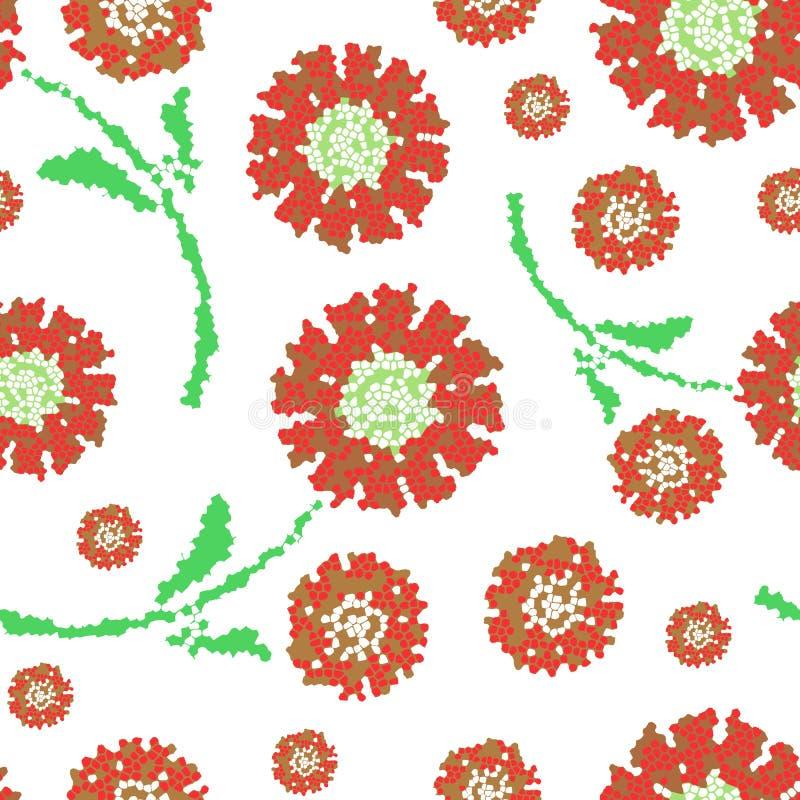 Mosaic Flower Seamless Pattern royalty free illustration