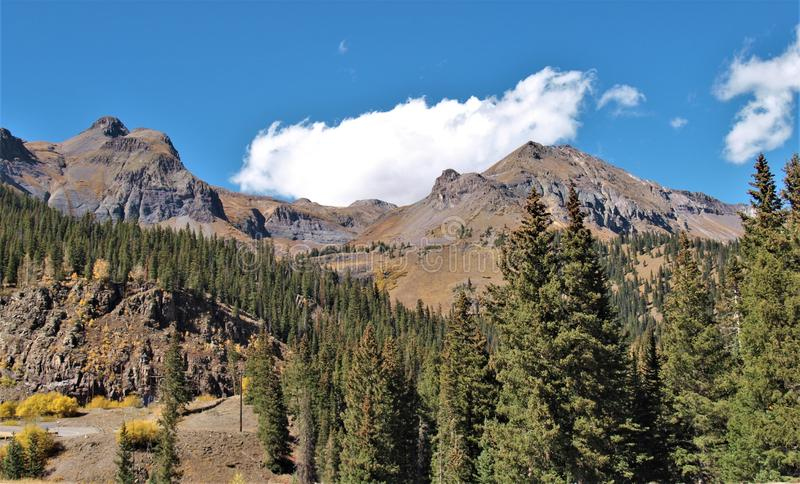 Red Mountain along the Million Dollar Highway in Colorado stock images
