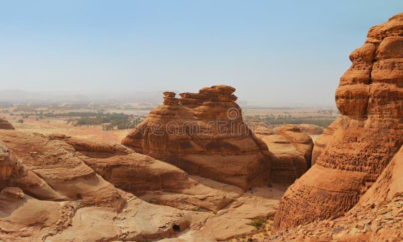 Red mountain landscape - desert wasteland / canyon.  stock photo
