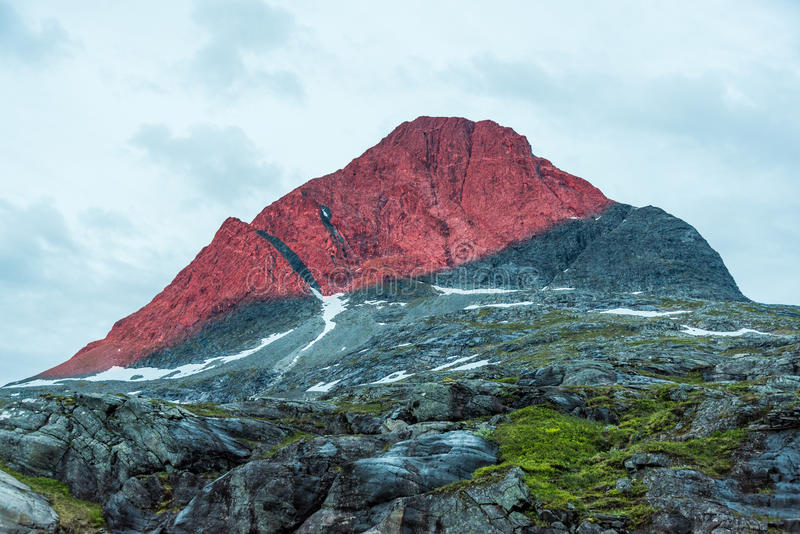 Red mountain light stock image