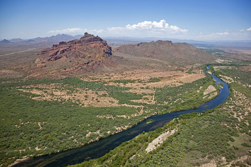Red Mountain and Salt River stock image