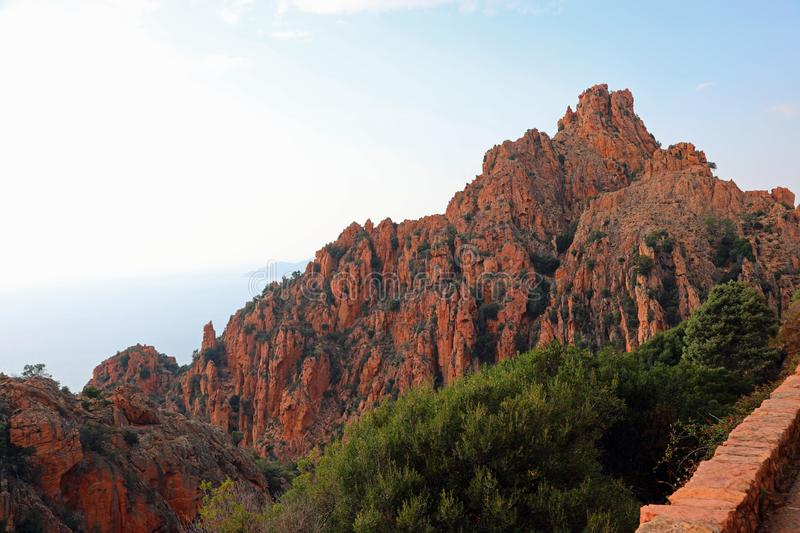 Red Mountains of Corsica Island called Calanches stock photo