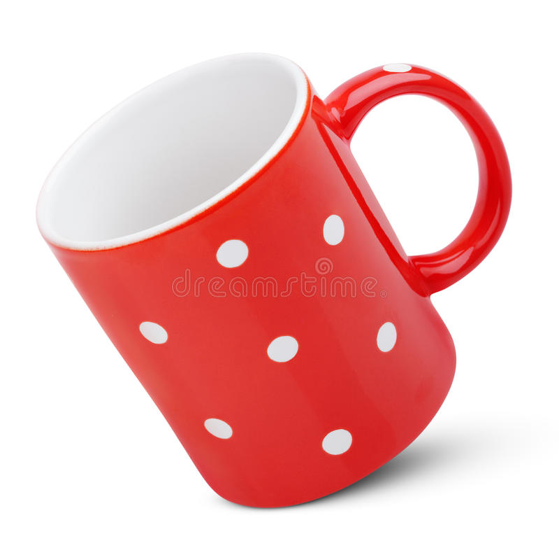 Red mug with polka dot royalty free stock images