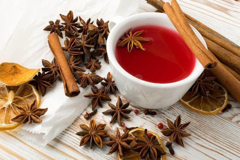 Red mulled wine with spices and dried fruits stock image