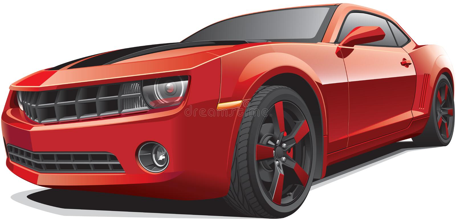 Red muscle car stock illustration