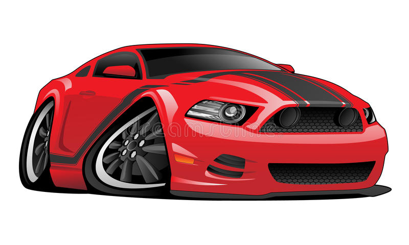 Red Muscle Car Cartoon Illustration stock illustration