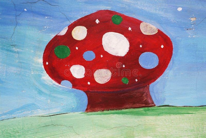Red Mushroom painted stock image