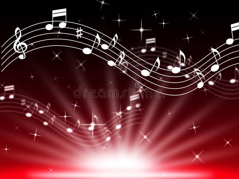 Red Music Background Means Musical Playing And Brightness. Red Music Background Meaning Musical Playing And Brightness royalty free illustration