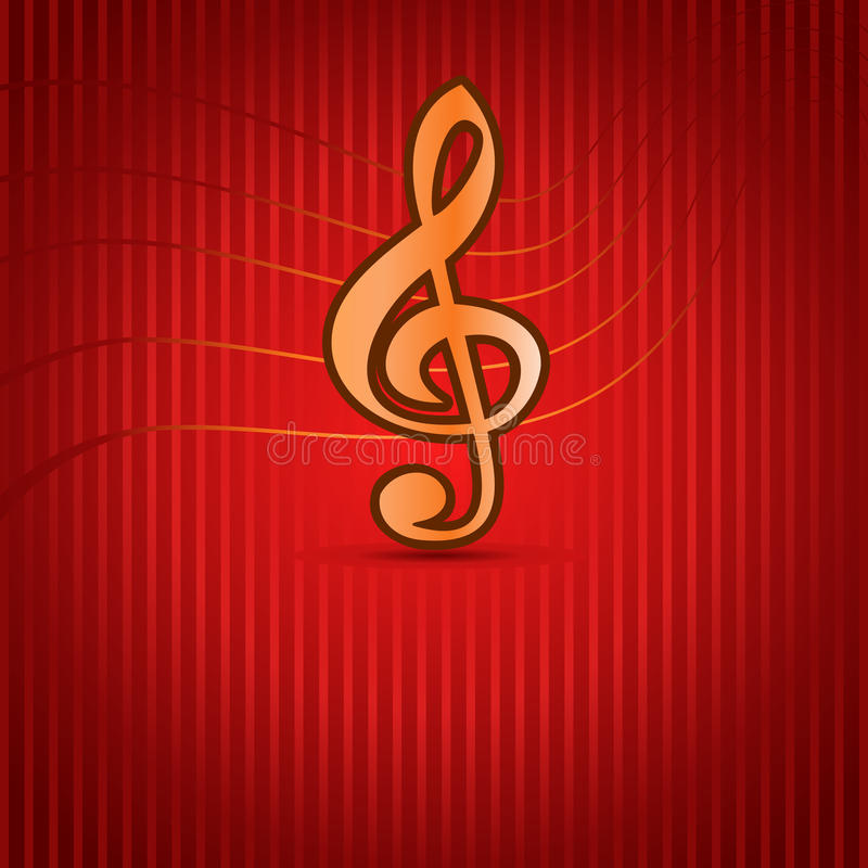 Red Music Background With Treble Clef Stock Image