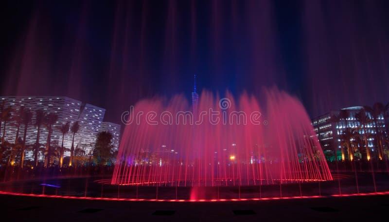 Red musical fountain in Guangzhou stock image
