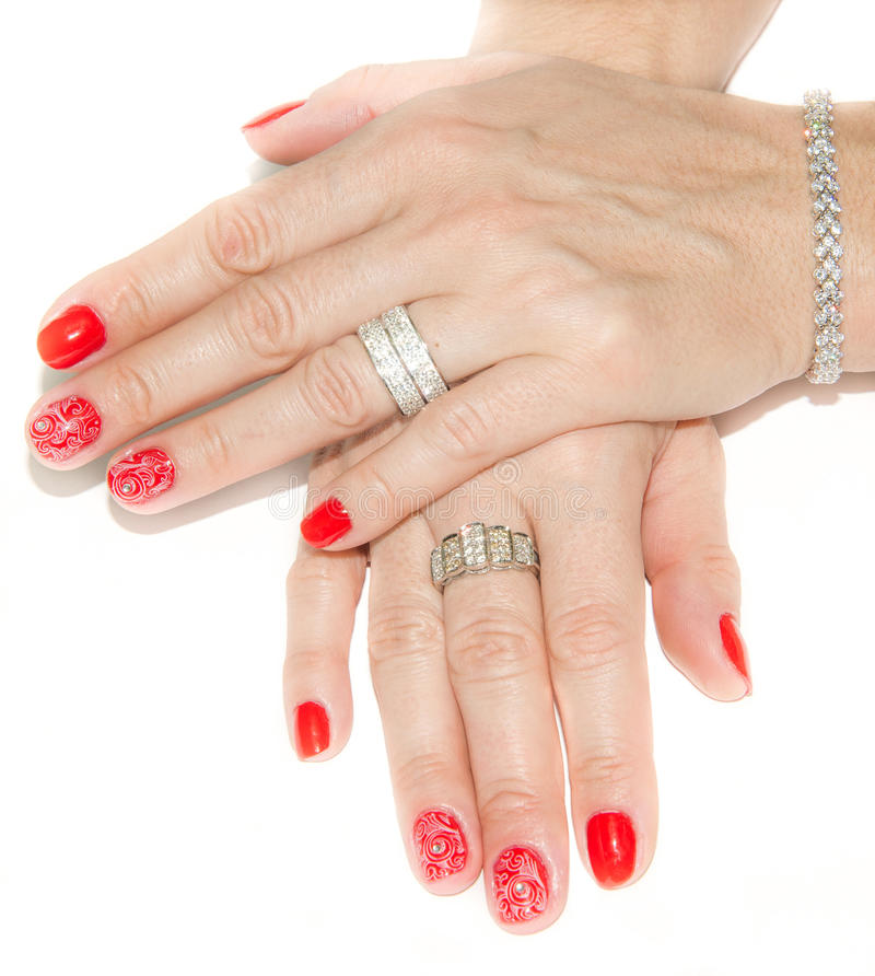 Red Nail Art Design And Diamonds. Stock Image - Image of painted ...