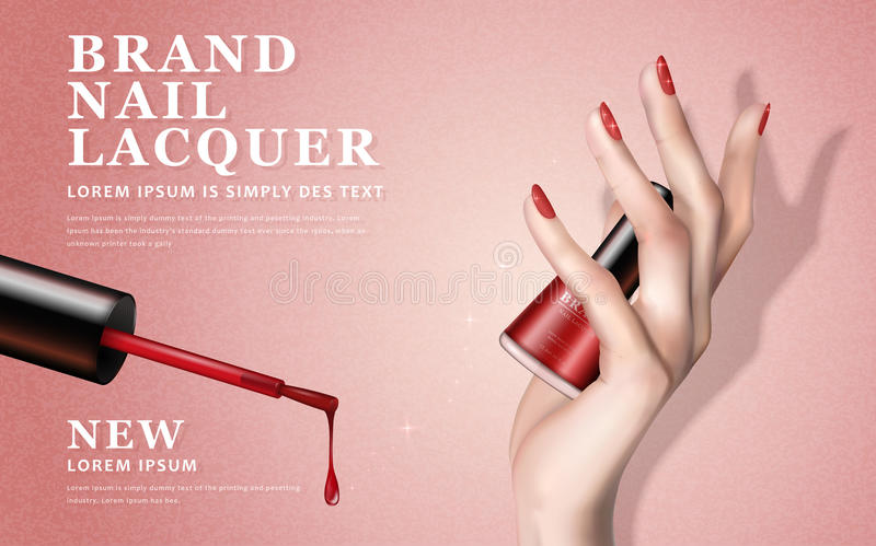 Red nail lacquer ad stock illustration. Illustration of polish ...