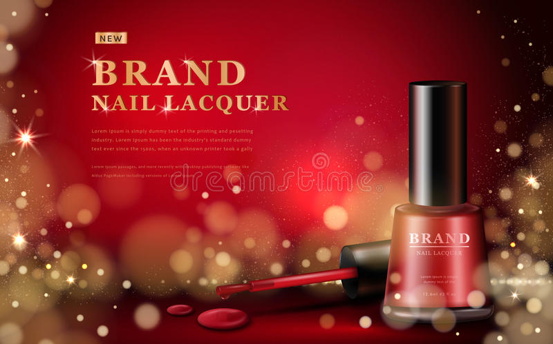 Red nail lacquer ads stock illustration