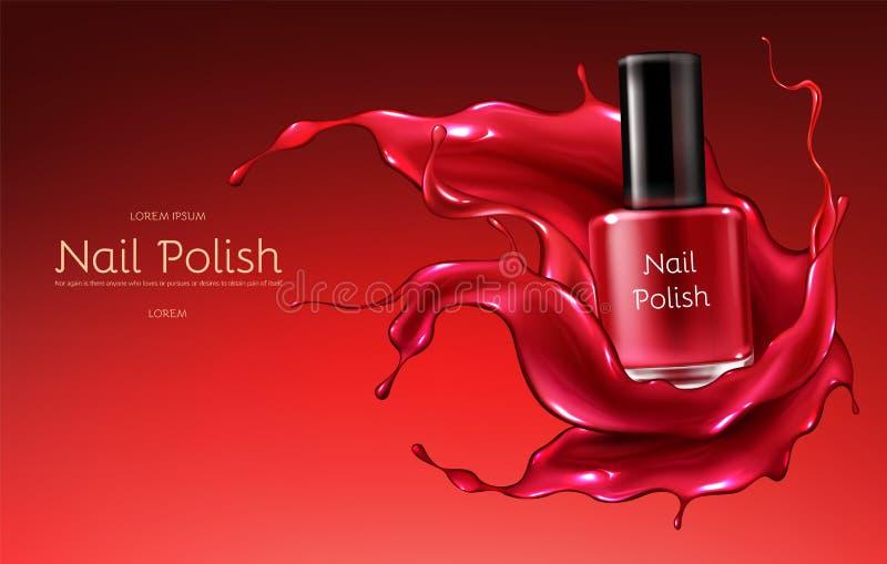 Red nail polish realistic vector promo banner. Red nail polish 3d realistic vector advertising banner with glass bottle in glossy, liquid varnish enamel splash vector illustration