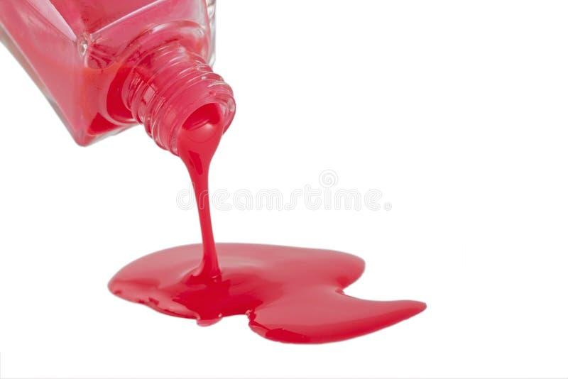 Red Nail Polonês Closeup isolado no branco fotografia de stock