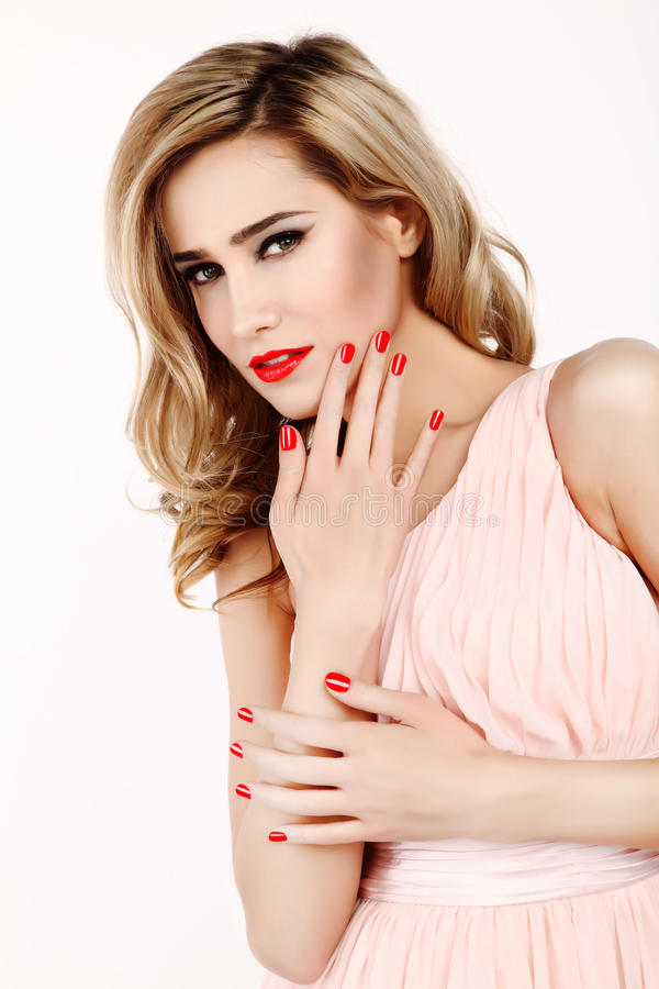 Attractive Woman With Red Nails And Lips Stock Image - Image of ...