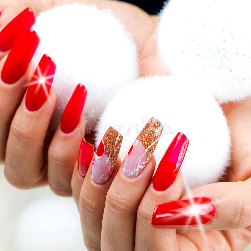 Red Nails Decorated For Your Fantastic Christmas Stock Image - Image ...