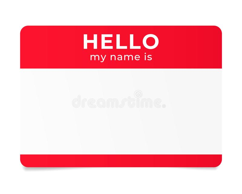 Hello my name is - label. Red name tag. Hello my name is - label royalty free illustration